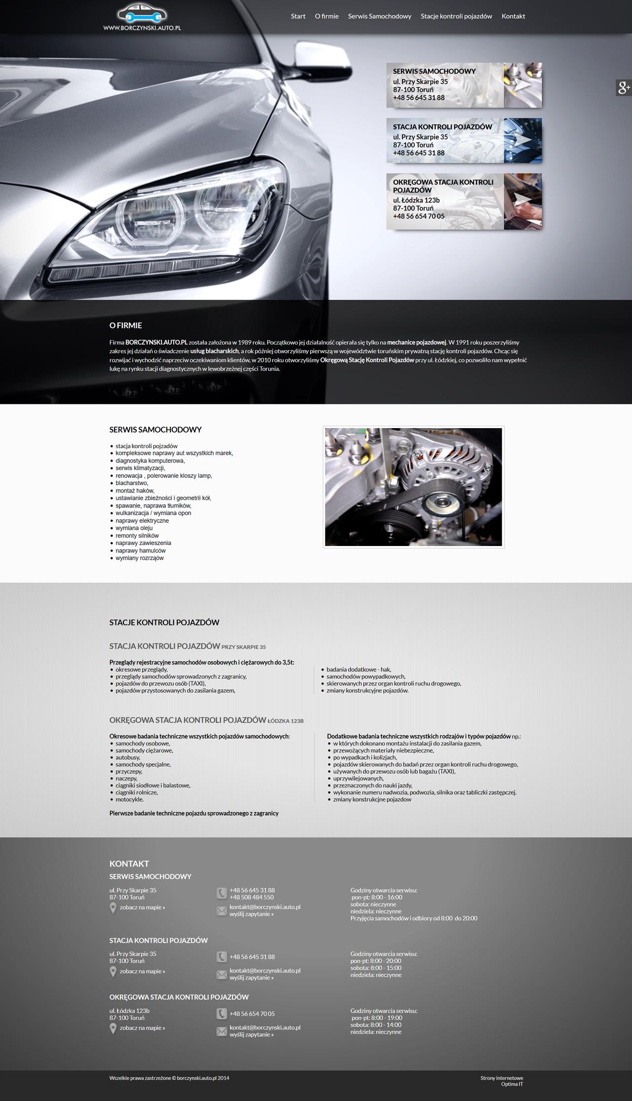 Strona www dla serwisu samochodowego oraz strona internetowa dla stacji kontroli pojazdów