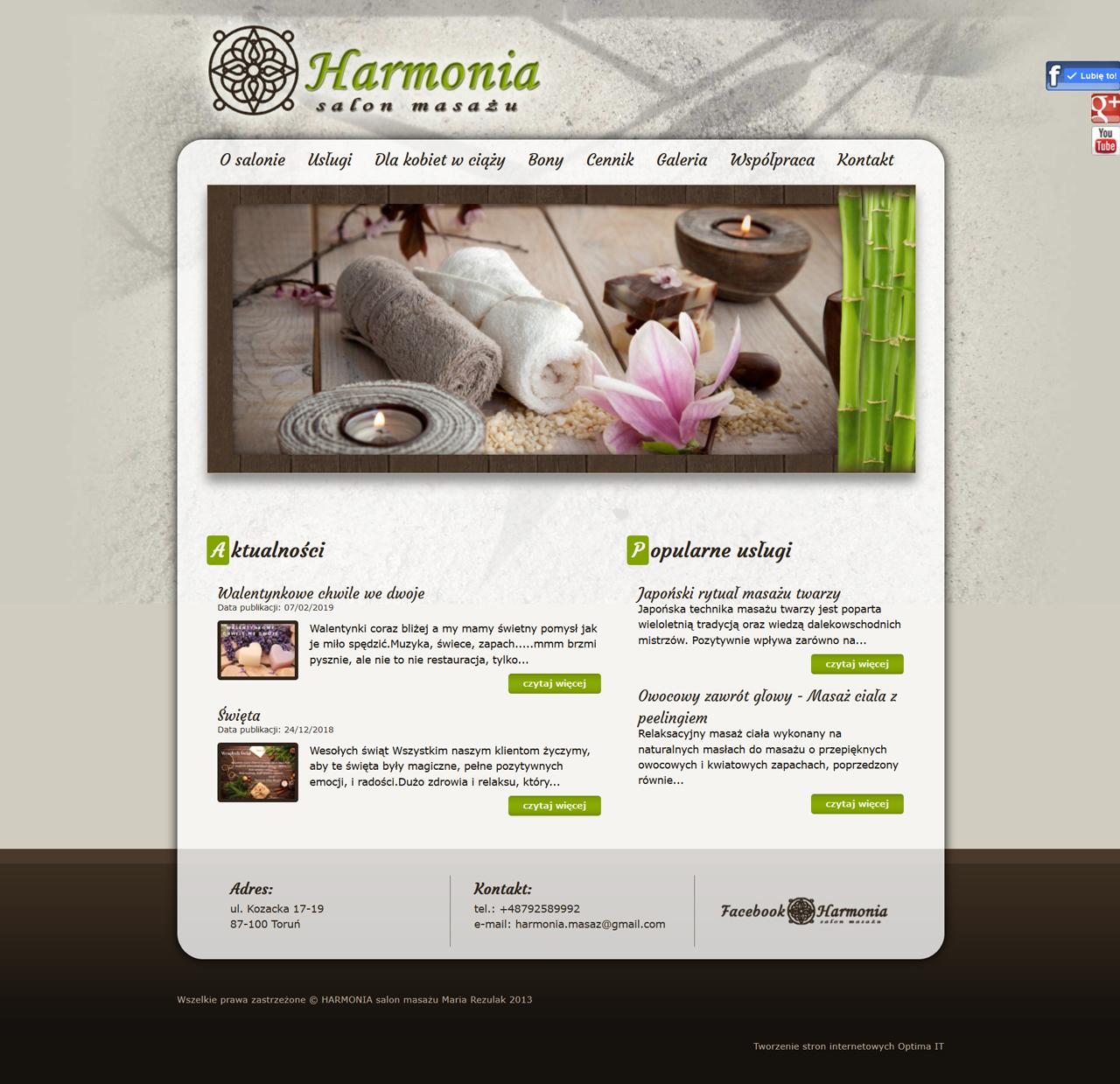 Strona internetowa dla salonu masażu