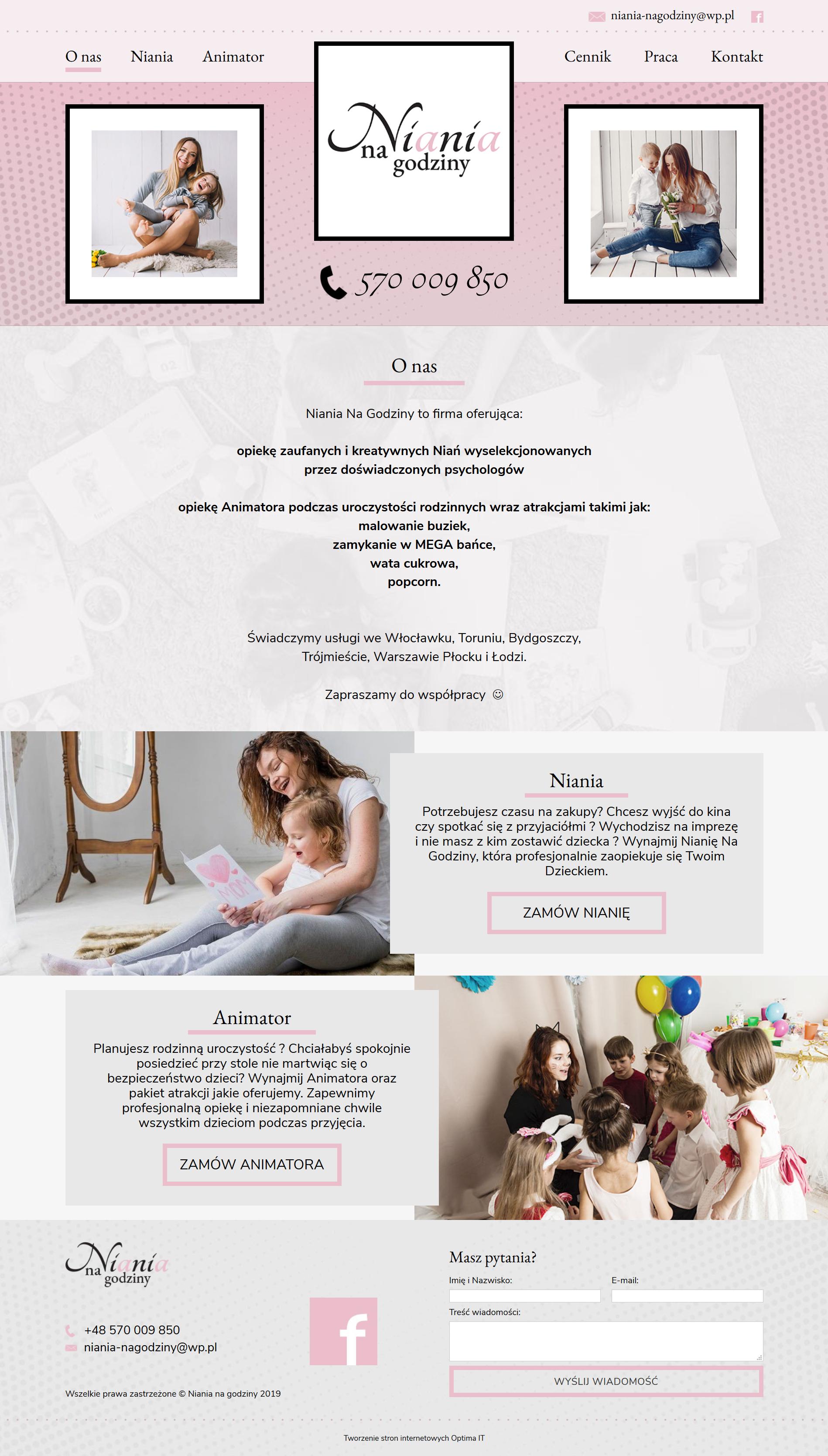 Strona www dla firmy oferującej opiekę dla dzieci niań i animatorów
