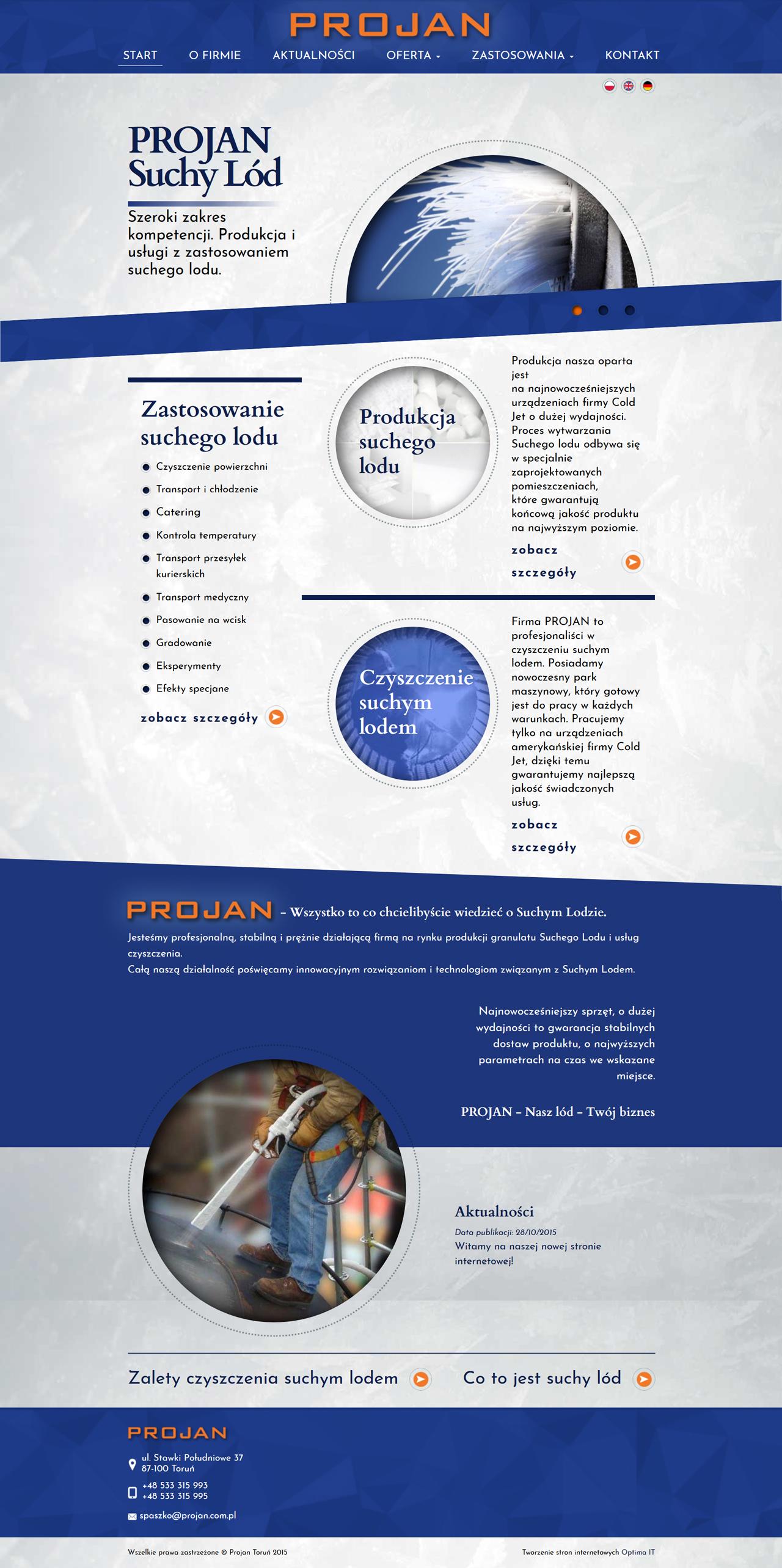 Strona internetowa dla firmy produkcyjnej Projan