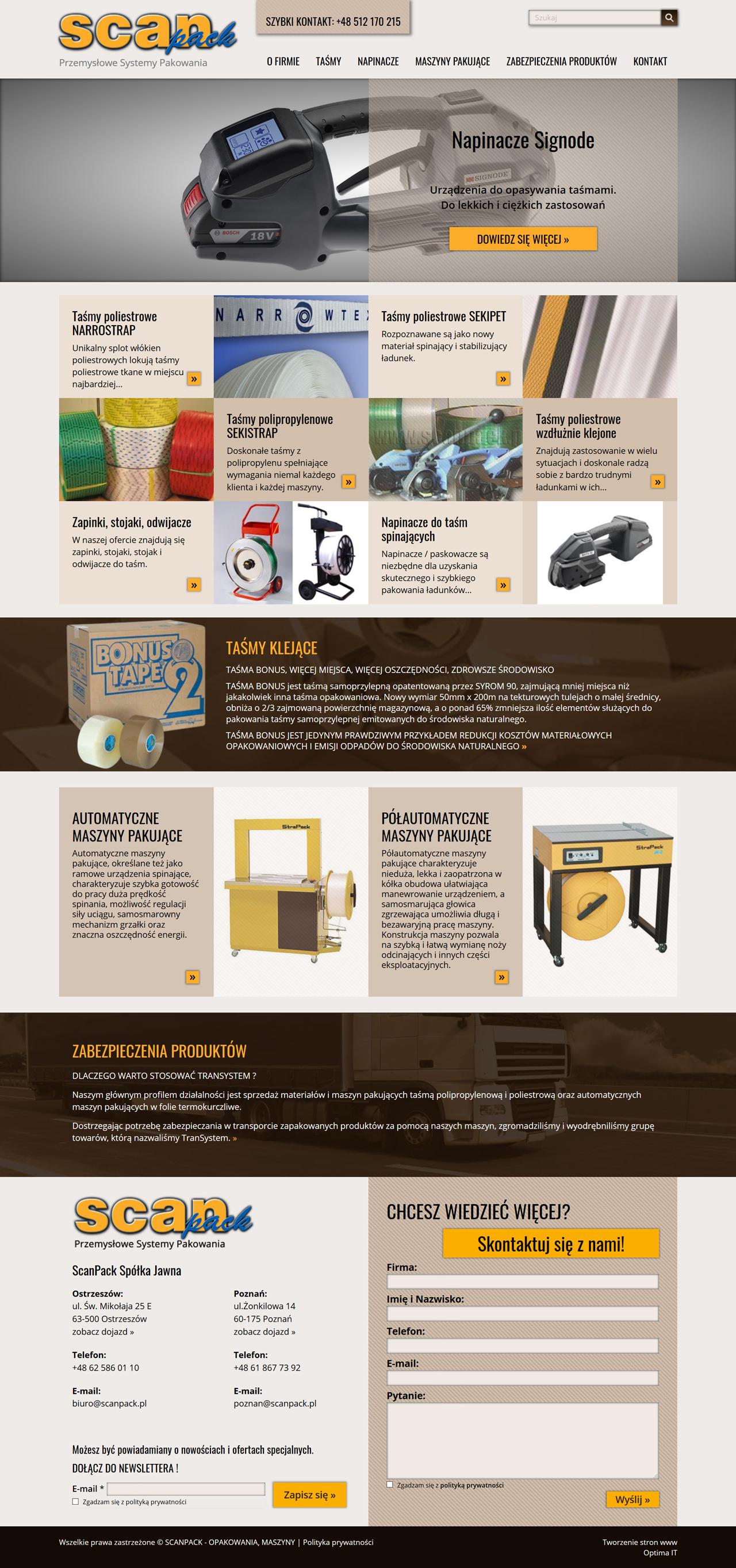 Strona internetowa dla dostawcy maszyn i akcesoriów pakujących - Scanpack