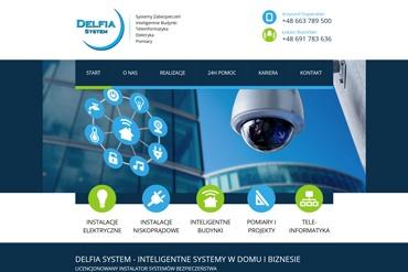 Strona www dla firmy oferującej systemy zabezpieczeń -  Delfia System