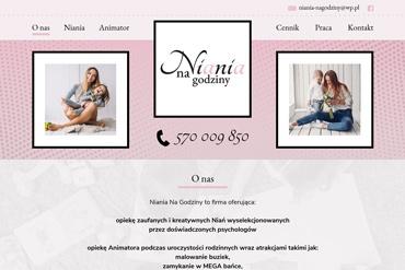 Strona internetowa dla firmy oferującej opiekę dla dzieci niań i animatorów