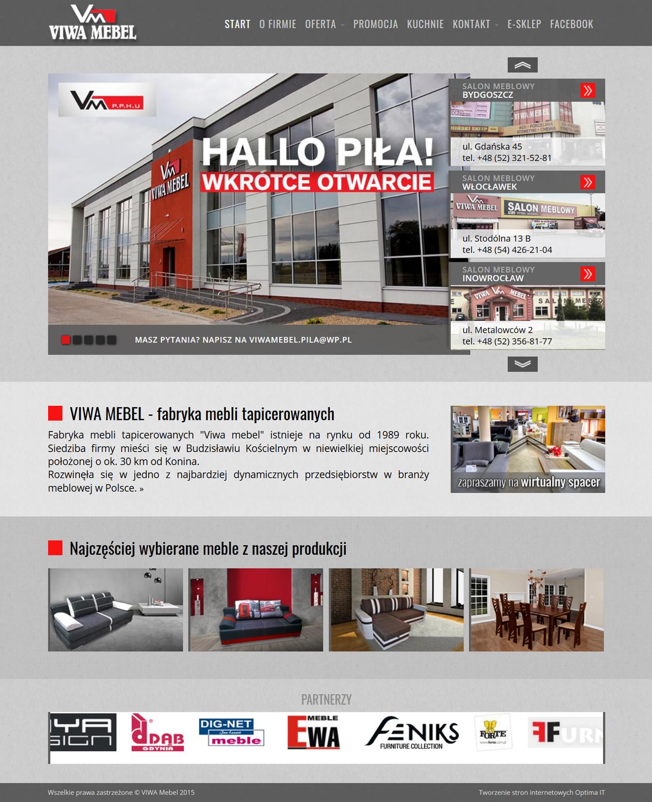 Strona internetowa dla salonu meblowego oraz fabryki mebli VIWA MEBEL